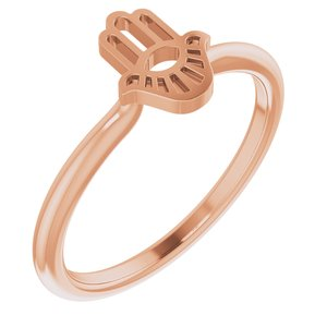 14K Rose Hamsa Stackable Ring