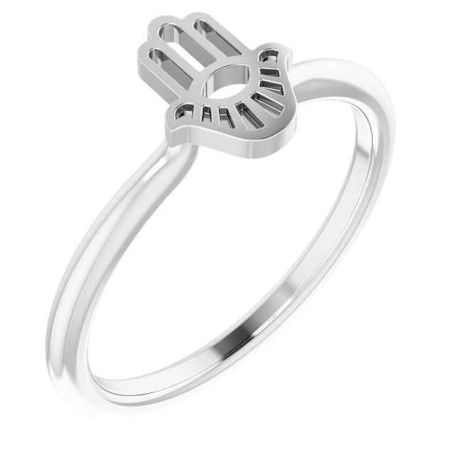 14K White Hamsa Stackable Ring