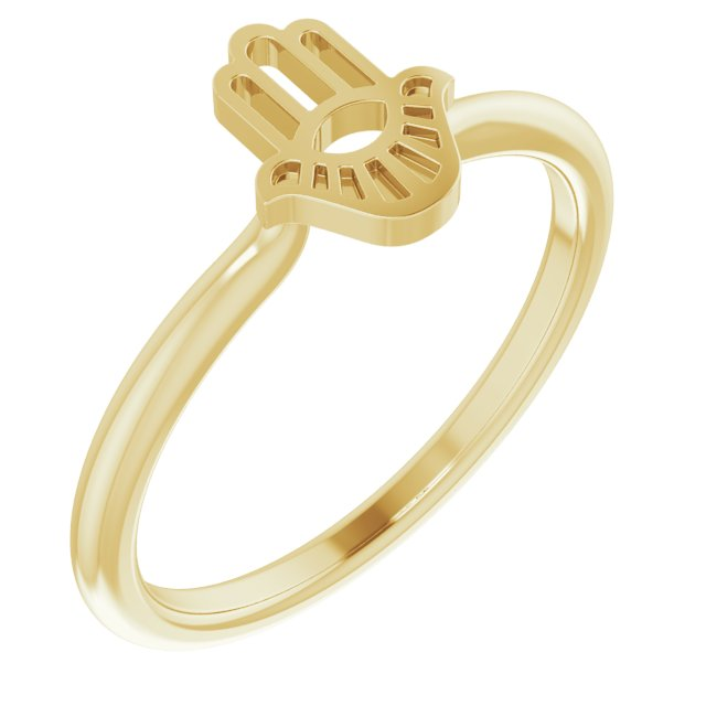 14K Yellow Hamsa Stackable Ring