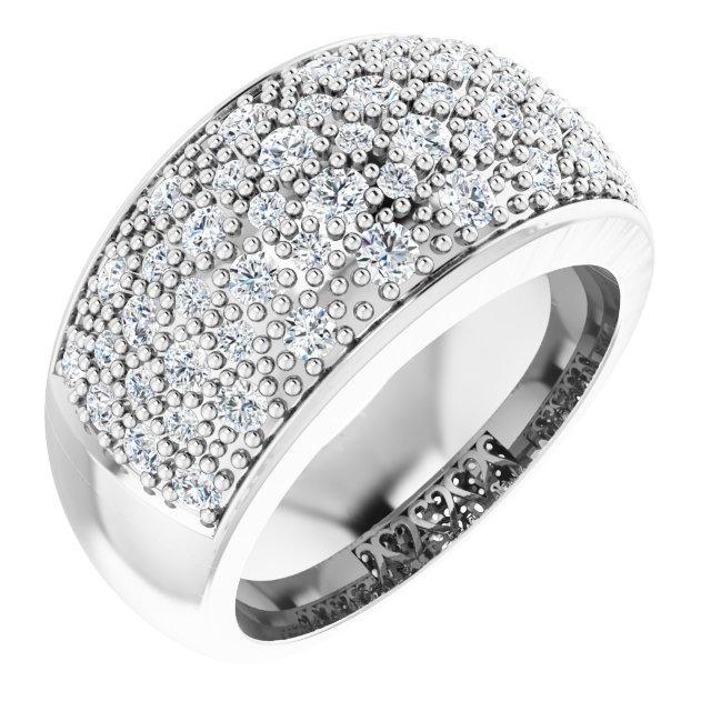 14K White 1 CTW Diamond Micro Pave Ring Size 7