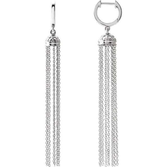 14K White 56 mm Hinged Hoop Chain Earrings