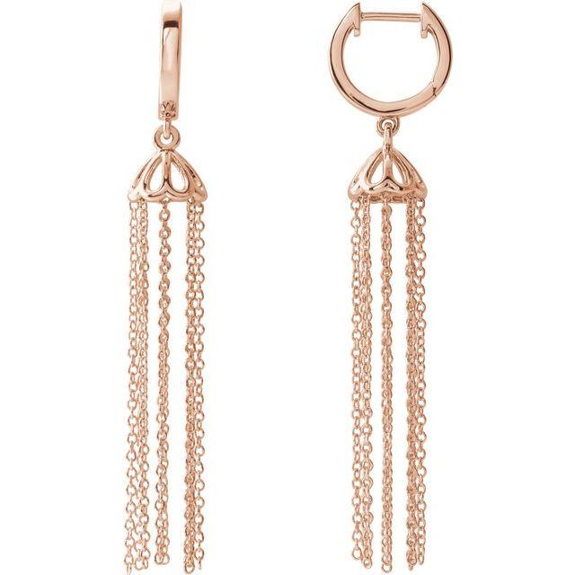 14K Rose 53.2 mm Hinged Hoop Chain Earrings