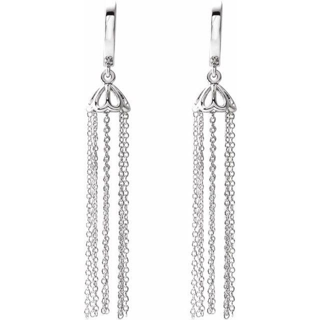 14K White 53.2 mm Hinged Hoop Chain Earrings