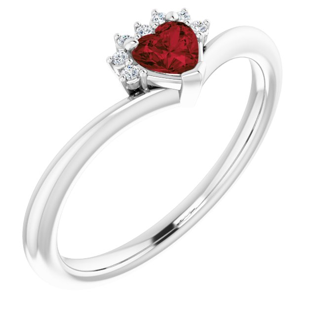 14K White Mozambique Garnet & .03 CTW Diamond Heart Ring