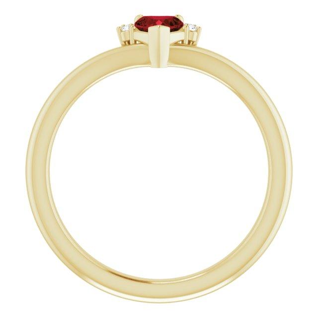 14K Yellow Mozambique Garnet & .03 CTW Diamond Heart Ring
