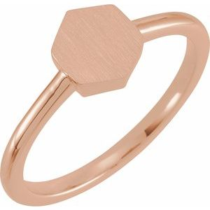 14K Rose  9.5x8 mm Geometric Signet Ring