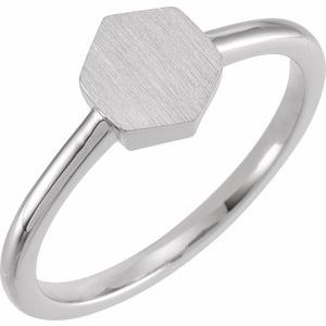Sterling Silver  9.5x8 mm Geometric Signet Ring