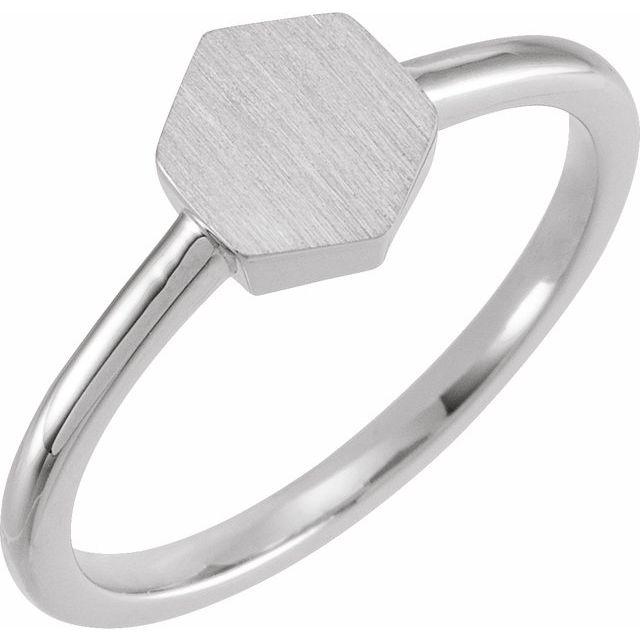 14K White  9.5x8 mm Geometric Signet Ring