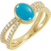 Accented Cabochon Split Shank Ring
