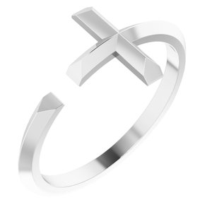 14K White Negative Space Cross Ring