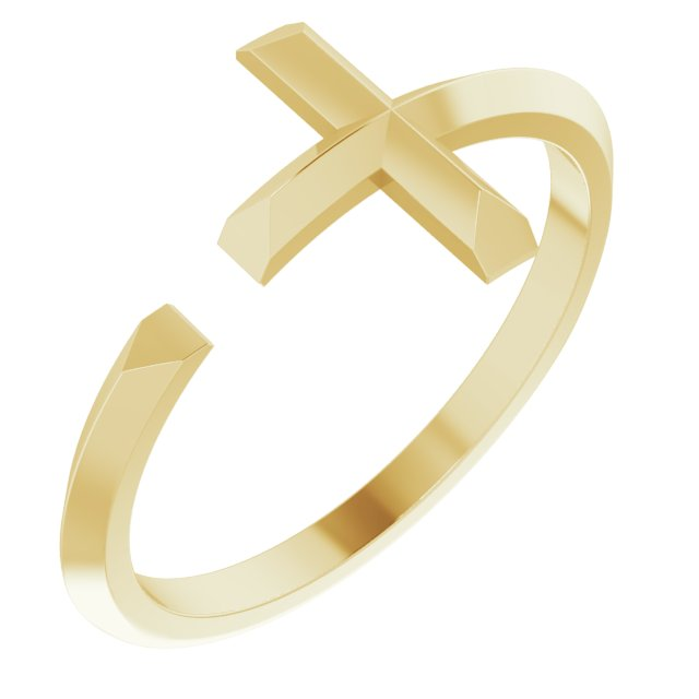 14K Yellow Negative Space Cross Ring