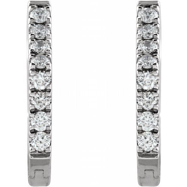 14K White 1/8 CTW Diamond Geometric Hinged Huggie Earrings