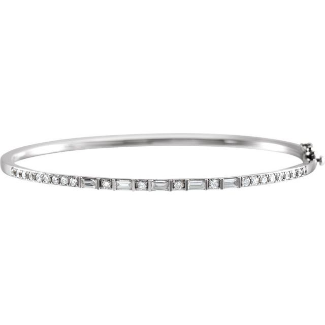 "14K White 1 CTW Diamond 7"" Bangle Bracelet"