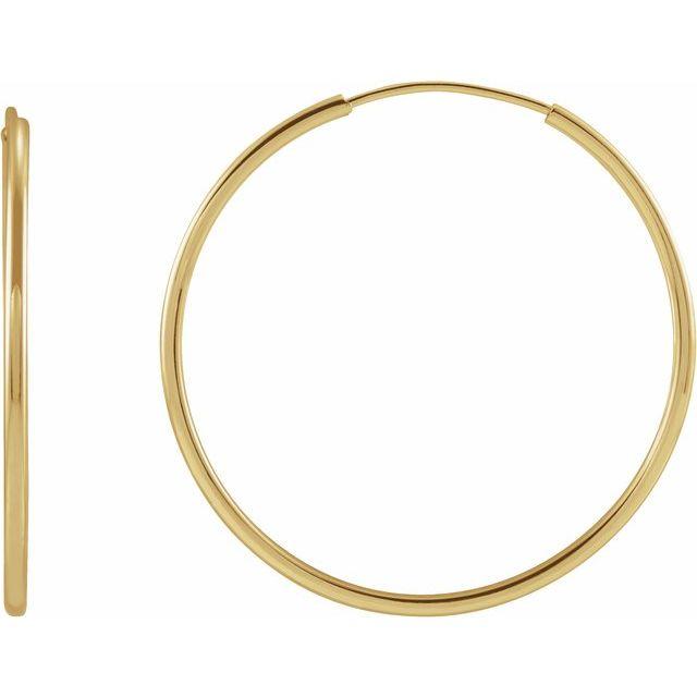 14K Yellow 25 mm Flexible Endless Huggie Earrings