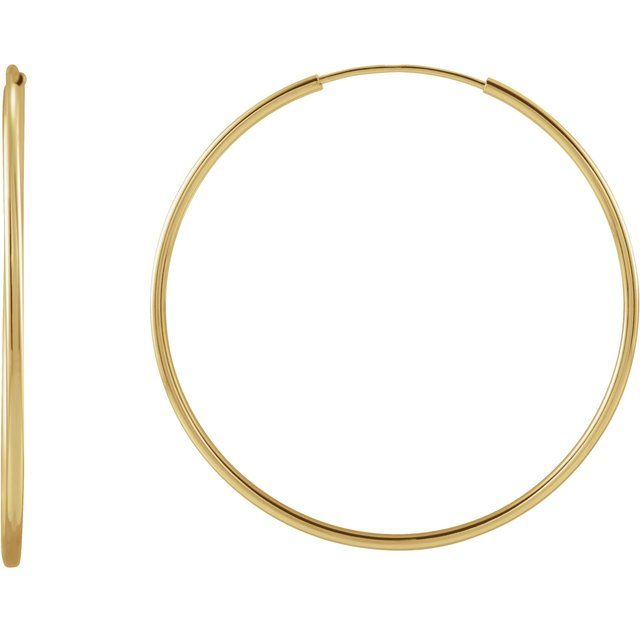 14K Yellow 30 mm Flexible Endless Huggie Earrings