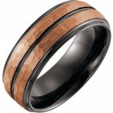 Grooved Band with Rose and Black PVD
