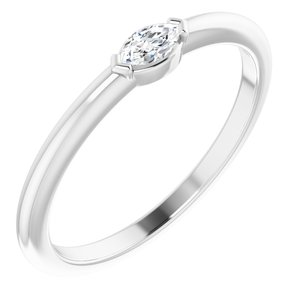 14K White 1/8 CTW Diamond Solitaire Ring