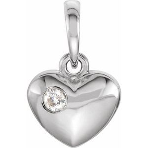 Sterling Silver .03 CT Diamond 13.55x8.35 mm Heart Pendant