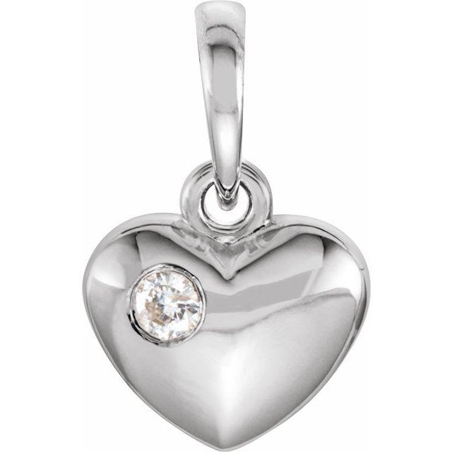 14K White .03 CT Diamond 13.55x8.35 mm Heart Pendant