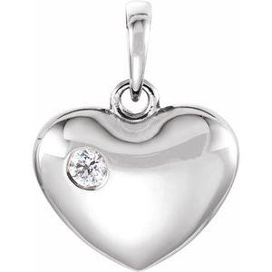 14K White .05 CT Diamond 16.75x12.15 mm Heart Pendant