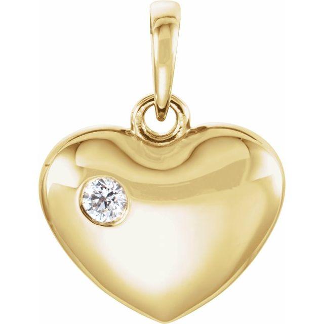 14K Yellow .05 CT Diamond 16.75x12.15 mm Heart Pendant