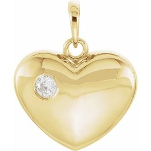 14K Yellow 1/10 CT Diamond 20.15x16 mm Heart Pendant