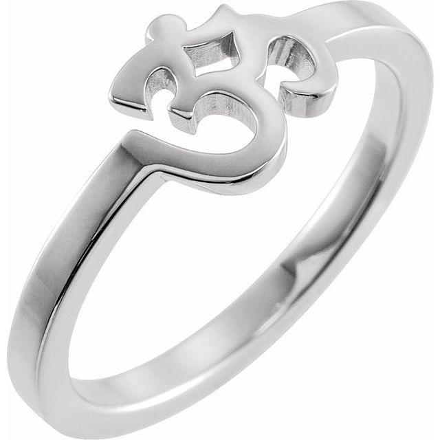 14K White Petite Om Ring