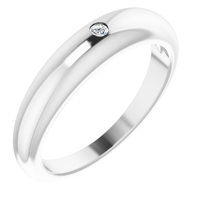 Sterling Silver .03 CT Diamond Petite Dome Ring