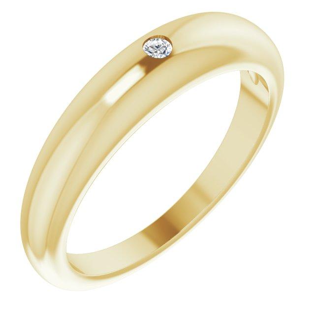 14K Yellow .03 CT Diamond Petite Dome Ring