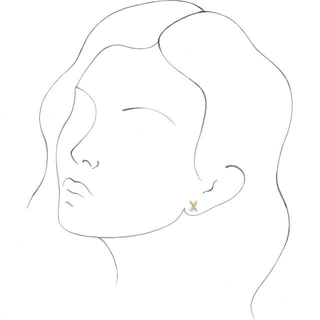 14K Yellow Single Initial X Earring