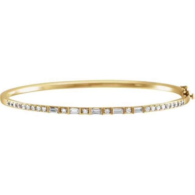 "14K Yellow 1 CTW Diamond 7"" Bangle Bracelet"