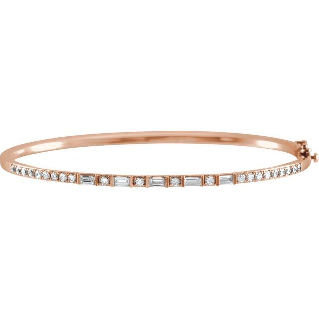 "14K Rose 1 CTW Diamond 7"" Bangle Bracelet"
