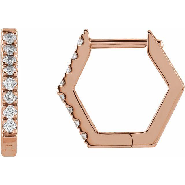 14K Rose 1/8 CTW Diamond Geometric Hinged Hoop Earrings