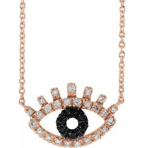 "14K Rose 1/8 CTW Black and White Diamond Evil Eye 18"" Necklace"