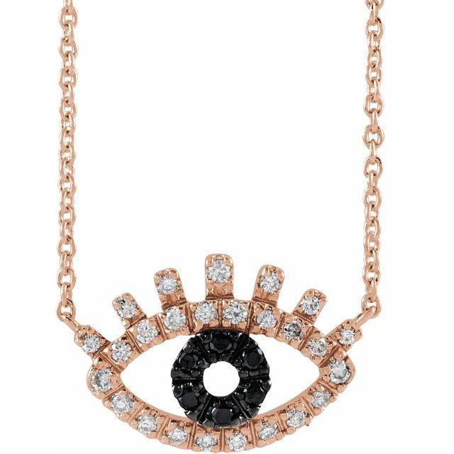 14K Rose 1/8 CTW Black and White Diamond Evil Eye 18