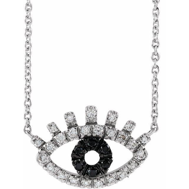 14K White 1/8 CTW Black and White Diamond Evil Eye 18
