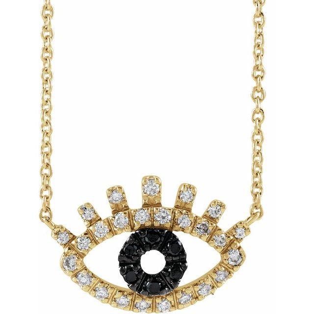 14K Yellow 1/8 CTW Black and White Diamond Evil Eye 18