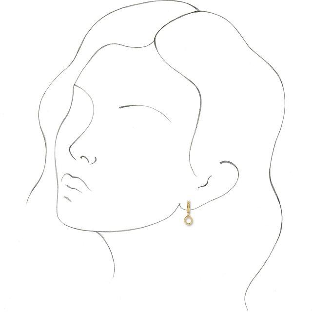14K Yellow Initial O Hinged Huggie Earring