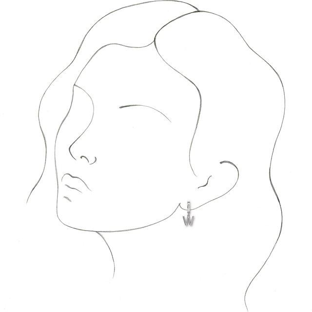 14K White Initial W Hinged Huggie Earring