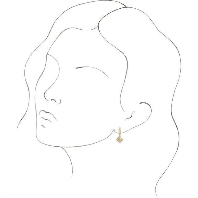 14K Yellow Initial M Hinged Huggie Earring