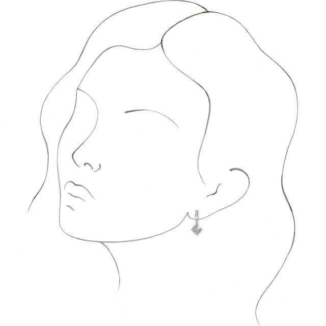 18K White Initial M Hinged Huggie Earring