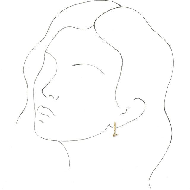 14K Yellow Initial V Hinged Huggie Earring