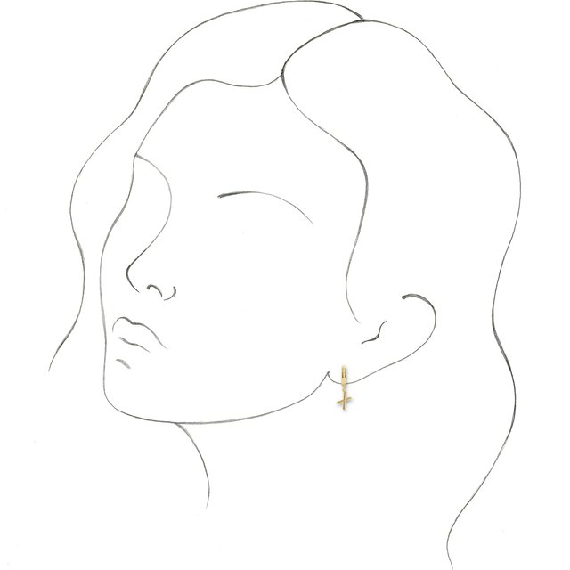 14K Yellow Initial X Hinged Huggie Earring