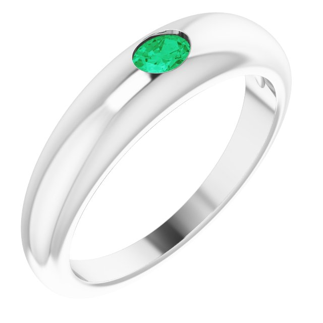 14K White Natural Emerald Dome Ring