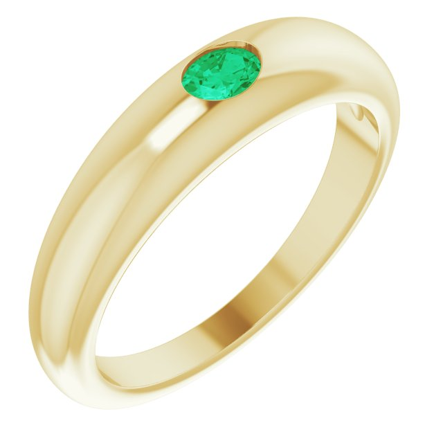 14K Yellow Natural Emerald Dome Ring