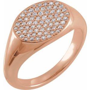 14K Rose 1/3 CTW Diamond Pavé Ring Size 7