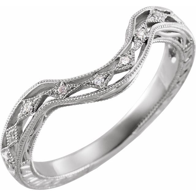 14K White .04 CTW Diamond Matching Band for 7x5 Oval Ring