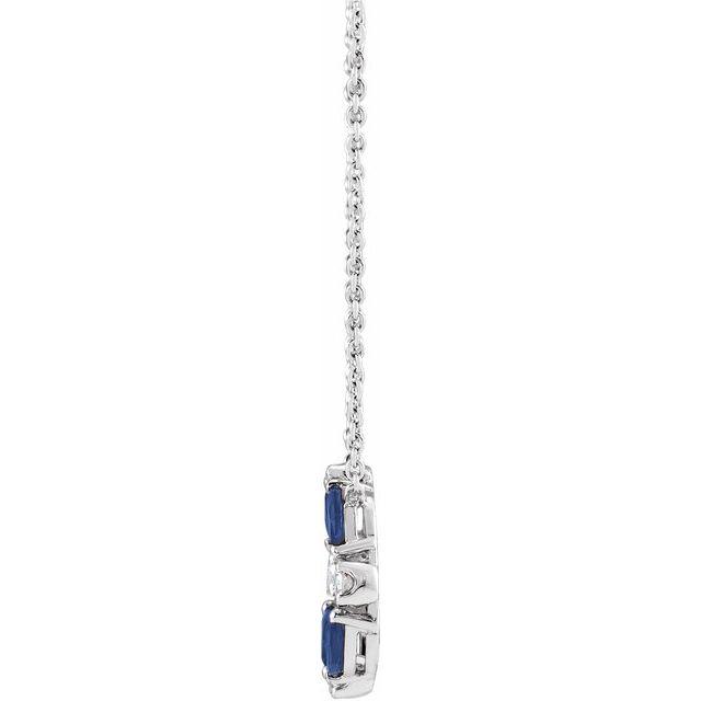 14K White Blue Sapphire & 1/10 CTW Diamond Circle 18