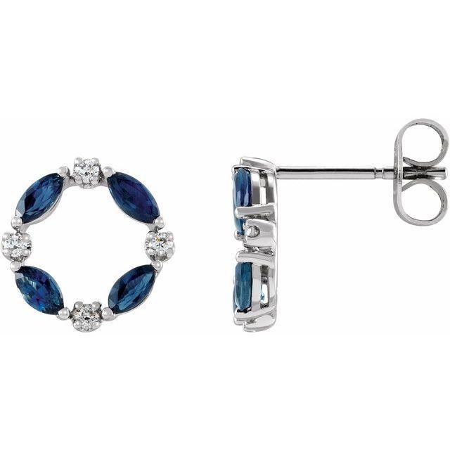 14K White Blue Sapphire & 1/10 CTW Diamond Circle Earrings