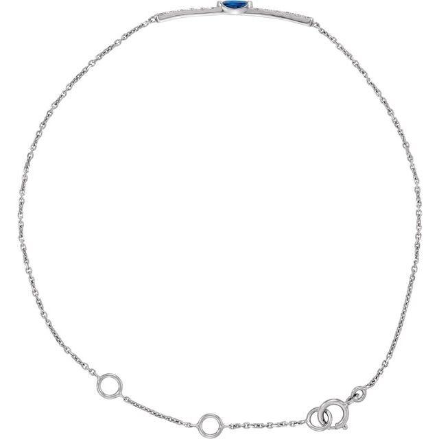 14K White Blue Sapphire & .06 CTW Diamond Bar 5-7